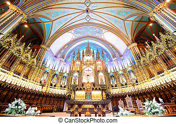 Montreal Notre-Dame Basilica interior with decorations