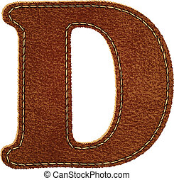 Leather alphabet. Leather textured letter D. Vector eps10...
