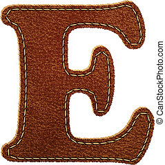 Leather alphabet. Leather textured letter E. Vector eps10...