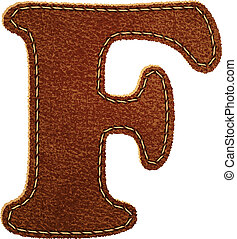 Leather alphabet. Leather textured letter F. Vector eps10...