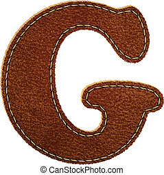 Leather alphabet. Leather textured letter G. Vector eps10...