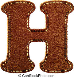 Leather alphabet. Leather textured letter H. Vector eps10...