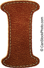 Leather alphabet. Leather textured letter I. Vector eps10...