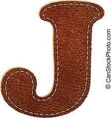 Leather alphabet. Leather textured letter J. Vector eps10...