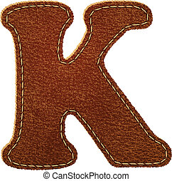 Leather alphabet. Leather textured letter K. Vector eps10...