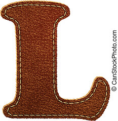 Leather alphabet. Leather textured letter L. Vector eps10...