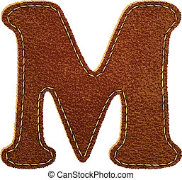 Leather alphabet. Leather textured letter M. Vector eps10...