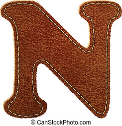 Leather alphabet. Leather textured letter N. Vector eps10...