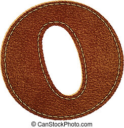 Leather alphabet. Leather textured letter O. Vector eps10...