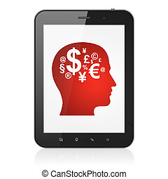 Education concept: black tablet pc computer with Head With Finance Symbol icon on display. Modern portable touch pad on White background, 3d render