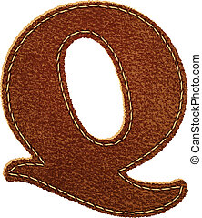 Leather alphabet. Leather textured letter Q. Vector eps10...