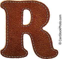 Leather alphabet. Leather textured letter R. Vector eps10...