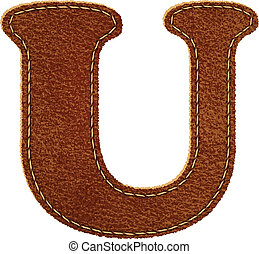 Leather alphabet. Leather textured letter U. Vector eps10...
