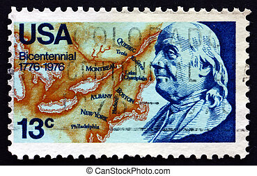 Postage stamp USA 1976 Franklin and Map of North America -...