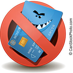 Credit Card Not Allowed - Illustration of a cartoon wicked...