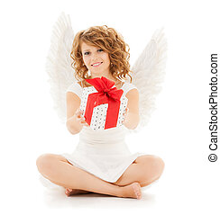 happy teenage angel girl with christmas gift - holidays,...