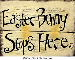 Easter Bunny Sign - wooden sign with crackled painted...
