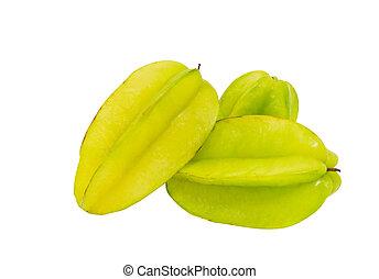 Starfruit or Carambola over white background