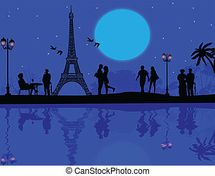 Paris in love on beautiful blue sunset, vector illustration
