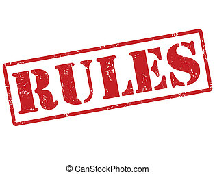 Rules stamp - Rules grunge rubber stamp on white, vector...