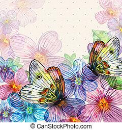 Floral retro card watercolor
