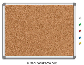 Empty corkboard with colored pins - Vector illustration of...