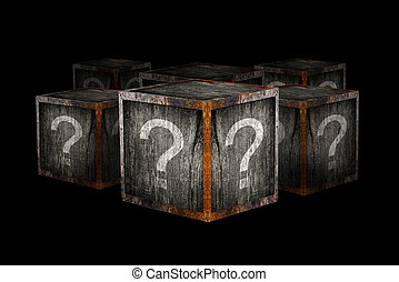 Mystery boxes with question marks