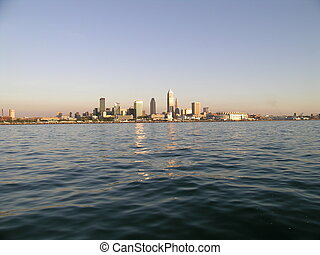 Cleveland Skyline at Sunset - Cleveland Skyline from Lake...