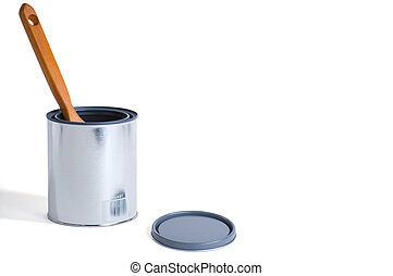 New Paint Can with Brush - Brand new silver paint can with...