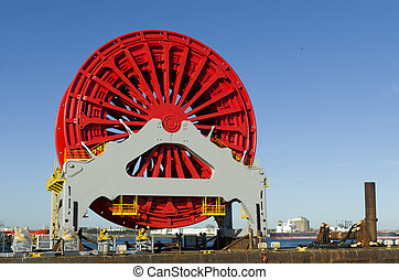 pipelay vessel - ship with large pipeline tensioner in the...