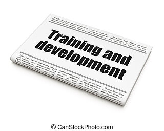 Education news concept: newspaper headline Training and...