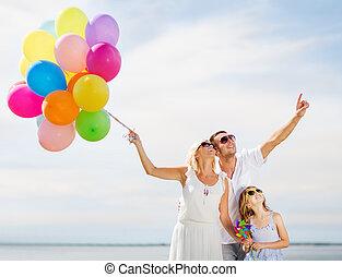 família, coloridos, balões