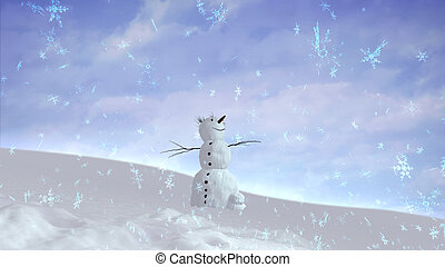 snowman happy sky wide angle - The background of snowflake...