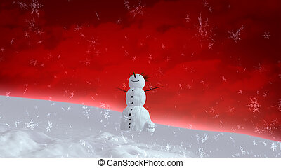 snowman red sky wide angle - The background of snowflake...