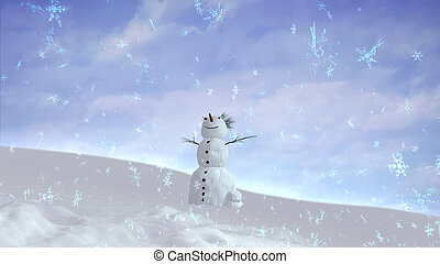 snowman sky wide angle - The background of snowflake falling...