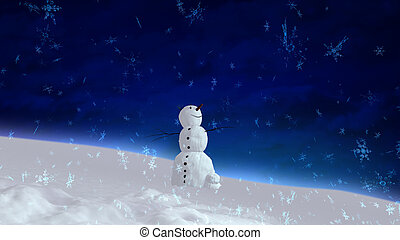 snowman happy blue sky wide angle - The background of...