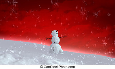 snowman happy red sky wide angle - The background of...