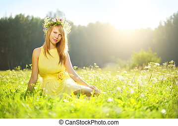 Beautiful girl relaxing outdoors morning sun