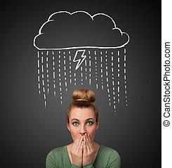 Young woman with thundercloud above her head - Thoughtful...