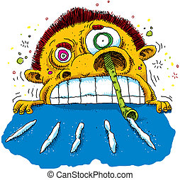 Raging Cartoon Cokehead - A crazed cartoon cokehead snorting...