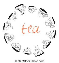 Tea cups frame funny banner hand drawn design