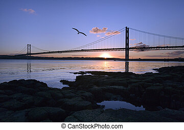 Forth Road Bridge - Scotland - The Forth Road Bridge across...