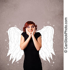 Young girl with angel - Cute person with angel illustrated...
