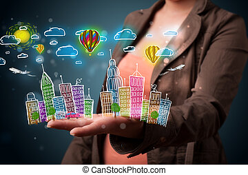 Young woman presenting colorful hand drawn metropolitan city...