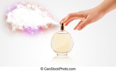 woman hands spraying colorful cloud - close up of woman...