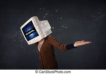 Girl with a monitor head and no signal on the display screen