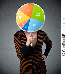 Young woman holding a pie chart - Young lady holding a...