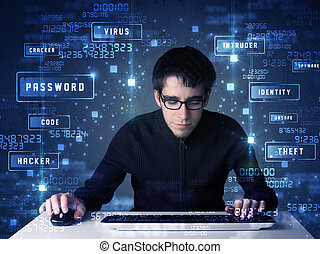 Hacker programing in technology enviroment with cyber icons...