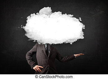 Business man with white cloud on his head concept