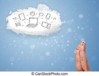 Happy cheerful smiley fingers looking at cloud computing with technology icons